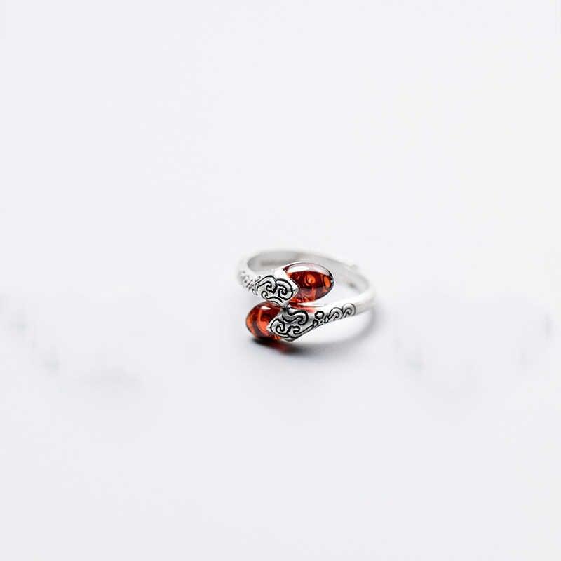 INZATT Vintage ผู้หญิงแท้ 925 แหวนเงินอินเทรนด์ที่มีสีสันหยกเครื่องประดับอุปกรณ์เสริมสำหรับครบรอบ Major Bijoux