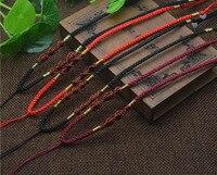 100 strands/バッグネックレスナイロンコードチェーンchoker用チベットdziビーズ付きガラス調節可能な3〜3.5ミリメートル、約15.5〜23.5イン