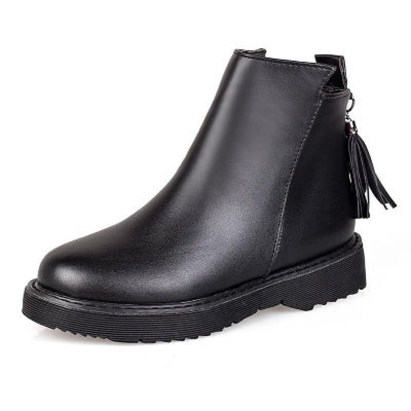 c7251e49678e9e Tête Et De Noir Bas Plus Bottes 2019 Chaud Femmes Automne Petit D'hiver  Épais Martin Chaussures ...