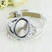 New! Hot Sales Lady White Bracelet Charm Leather Watches Weave Quartz Movement Wrist Watch New Design 5RYE 6YM5