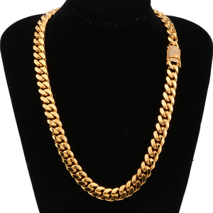 Image 5 - 6 18mm wide Stainless Steel Cuban Miami Chains Necklaces CZ Zircon Box Lock Big Heavy Gold Chain for Men Hip Hop Rock jewelry