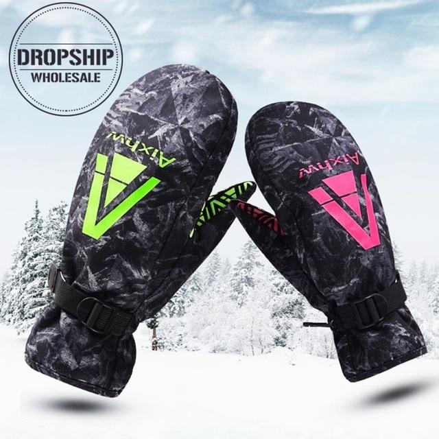 2018 Couple Winter Ski Gloves Waterproof Super Warm Glove for Skiing Cycling Snowmobile Riding Sport Snowboard Gloves Men Women