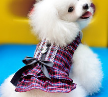 Grid Print Dog Dress with Black Bow Scotland Style Puppy Doggie Summer Clothes Skirt XS XL