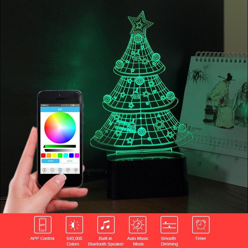 ФОТО 3D Music Lampara Christmas Tree Atmosphere Party Light Bluetooth Speaker Nightlight as Home Decor Child Festival Gift Drop Ship
