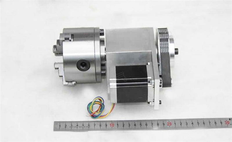K12 4 Jaw Electric Chuck CNC Rotary Axis 100mm 4th A axis Ratio 4:1 NEMA34 57mm for CNC Router New 1 Year Warranty cnc milling machine part rotational a axis 80mm 3 jaw chuck