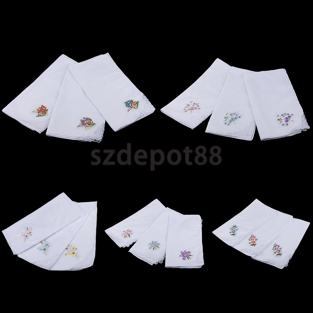 12x Vintage Women's Embroidery 100% Cotton Lace Handkerchiefs Hanky Hand Towel White