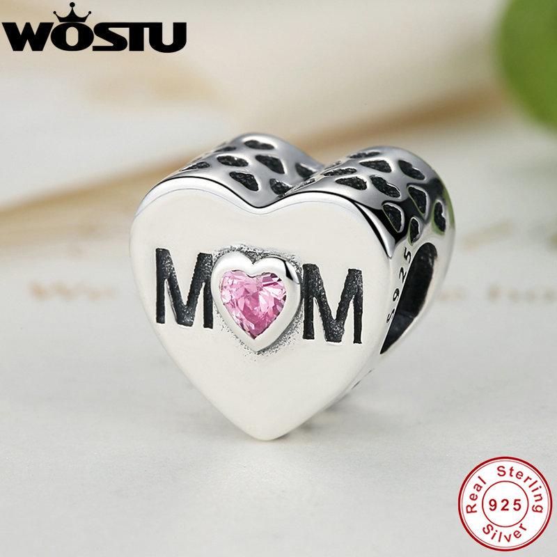 Prix pour 100% 925 Sterling Argent Mère Coeur Charme Perles Fit Pandora Bracelet Original Authentique BRICOLAGE Pour Fabrication De Bijoux Cadeau