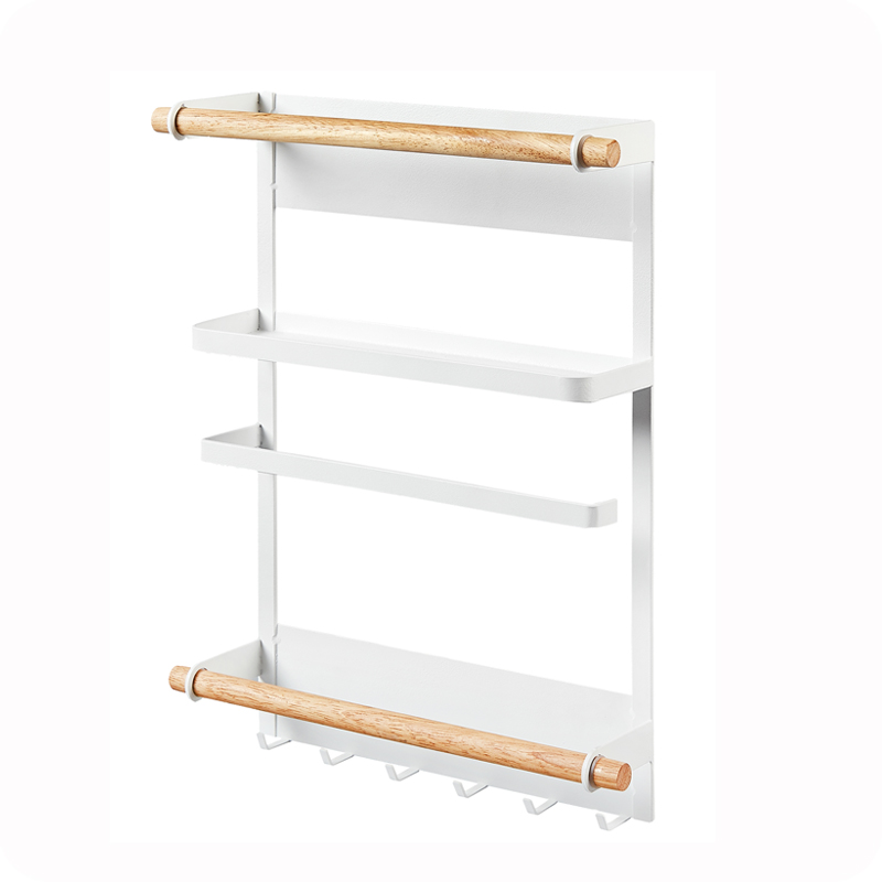 Japanese iron refrigerator side wall hanging kitchen condiment magnetic storage rack seasoning rack LU4213