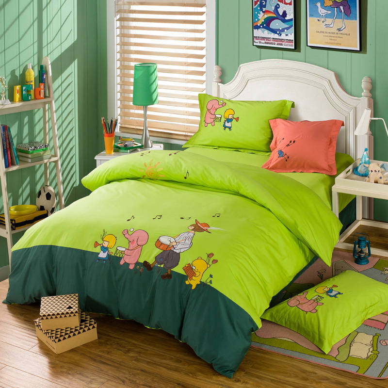 Cartoon Musical Elephant Girl Applique Embroidered Bedding Sets Twin Full Queen Size Duvet Covers Bedspreads Cotton Woven Green