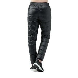 Image 3 - Winter Ultralight Duck Down Outwear Pants Unisex Super light Windproof Plus Size warm trousers Loose ski Hiking down pants