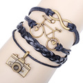 Free shipping camera Bracelet men women bijoux 2016 fashion jewelry ladies bracelets bicycle pattern design leather bangles 8020