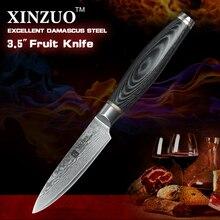 """Xinzuo nueva 3.5 """"japonés vg10 damasco cuchillo de fruta cuchillos de cocina cuchillo de cocina de acero de damasco tabla parer cuchillo envío gratis"""