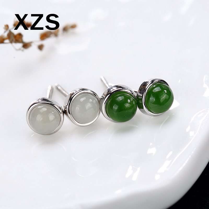 100% Genuine S925 Sterling Silver Chinese Style Hand Made Gem Jade Earrings Women Luxury Valentines Day Gift Jewelry ESCN-18008100% Genuine S925 Sterling Silver Chinese Style Hand Made Gem Jade Earrings Women Luxury Valentines Day Gift Jewelry ESCN-18008