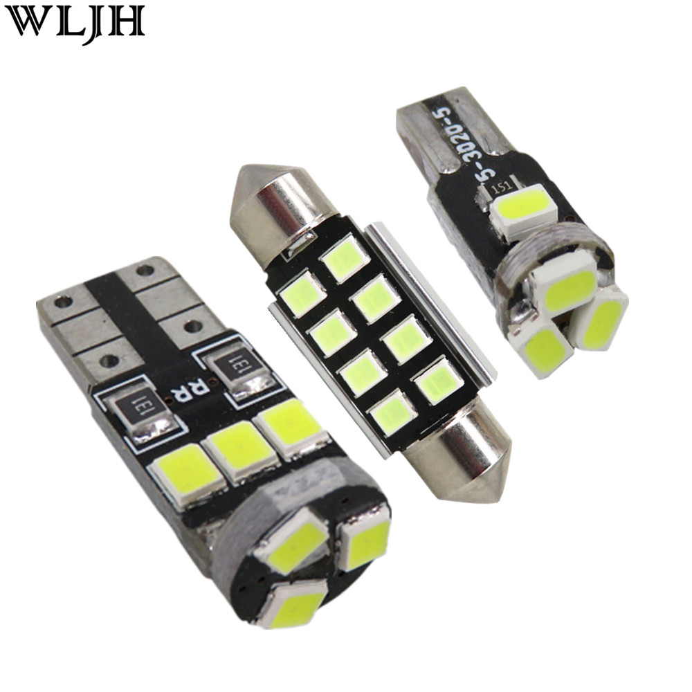 WLJH 15x Canbus Dome Map Door Trunk Interior Light Led Bulb Package for MINI Cooper R56 2006 2007 2008 2009 2010 2011 2012 2013 for volkswagen passat b6 b7 b8 led interior boot trunk luggage compartment light bulb