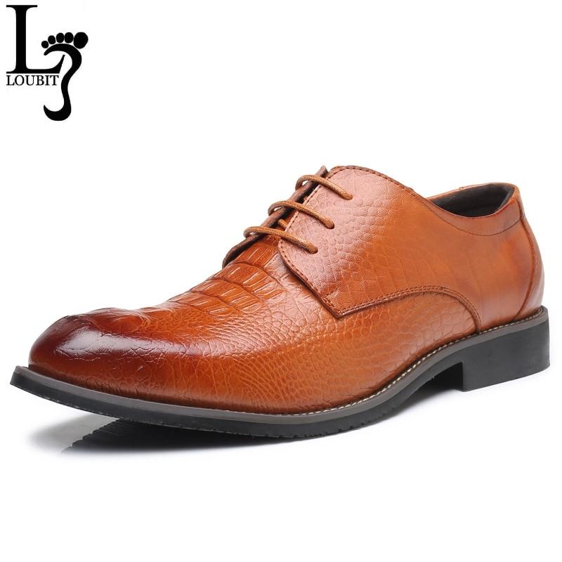 Alligator Embossed Leather Dress Shoes Men Fashion Business Formal Shoes 2018 Men's Dress Shoes Luxury Female Footwear Oxfords