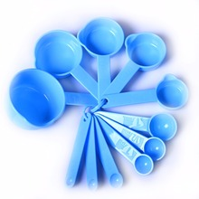 New Arrive 11pcs/set Blue Plastic Kitchen Measuring Measure Spoons Cups Tablespoon Free Shipping
