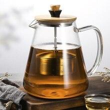 ステンレス鋼注入器ティーポットクリア Borosilica ガラスフィルター耐熱コーヒープーアル茶ポット加熱された容器沸騰ケトル