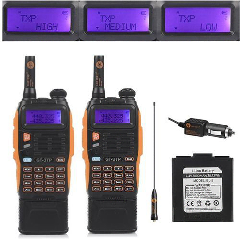 2pcs 3800mAh Battery Baofeng GT-3TP Mark III 8W Dual Band V/UHF Ham Two-way Radio Walkie Talkie Transceiver