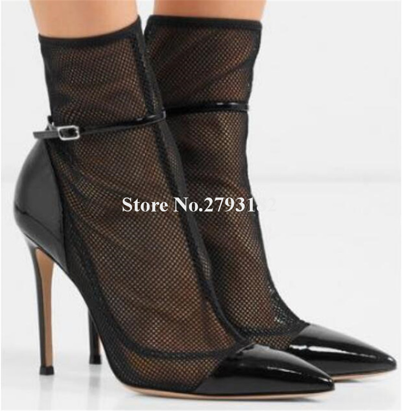Women Elegant Pointed Toe Mesh Thin Heel Short Boots Cut-out Lace Ankle Strap High Heel Ankle Boots Wedding Boots women suede ankle lace up boots cut out gladiator pointed toe pumps high heel stiletto short women boots elegant style