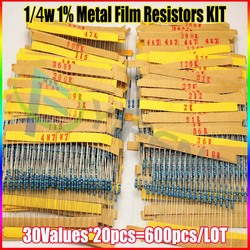 New 600 pcs 30 kinds each value metal film resistor pack 1 4w 1 resistor assorted.jpg 250x250