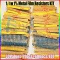 NOVA 600 Pcs 30 Tipos Cada Valor de Metal pacote Resistor Filme 1/4 W 1% resistor assorted Kit Set