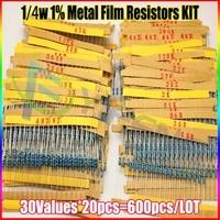 NEW 600 Pcs 30 Kinds Each Value Metal Film Resistor Pack 1 4W 1 Resistor Assorted
