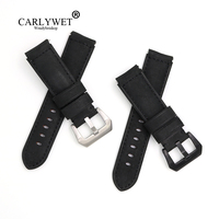 CARLYWET 22mm Wholesale Black Real Leather Handmade Thick Vintage Wrist Watch Band Strap Belt With Silver