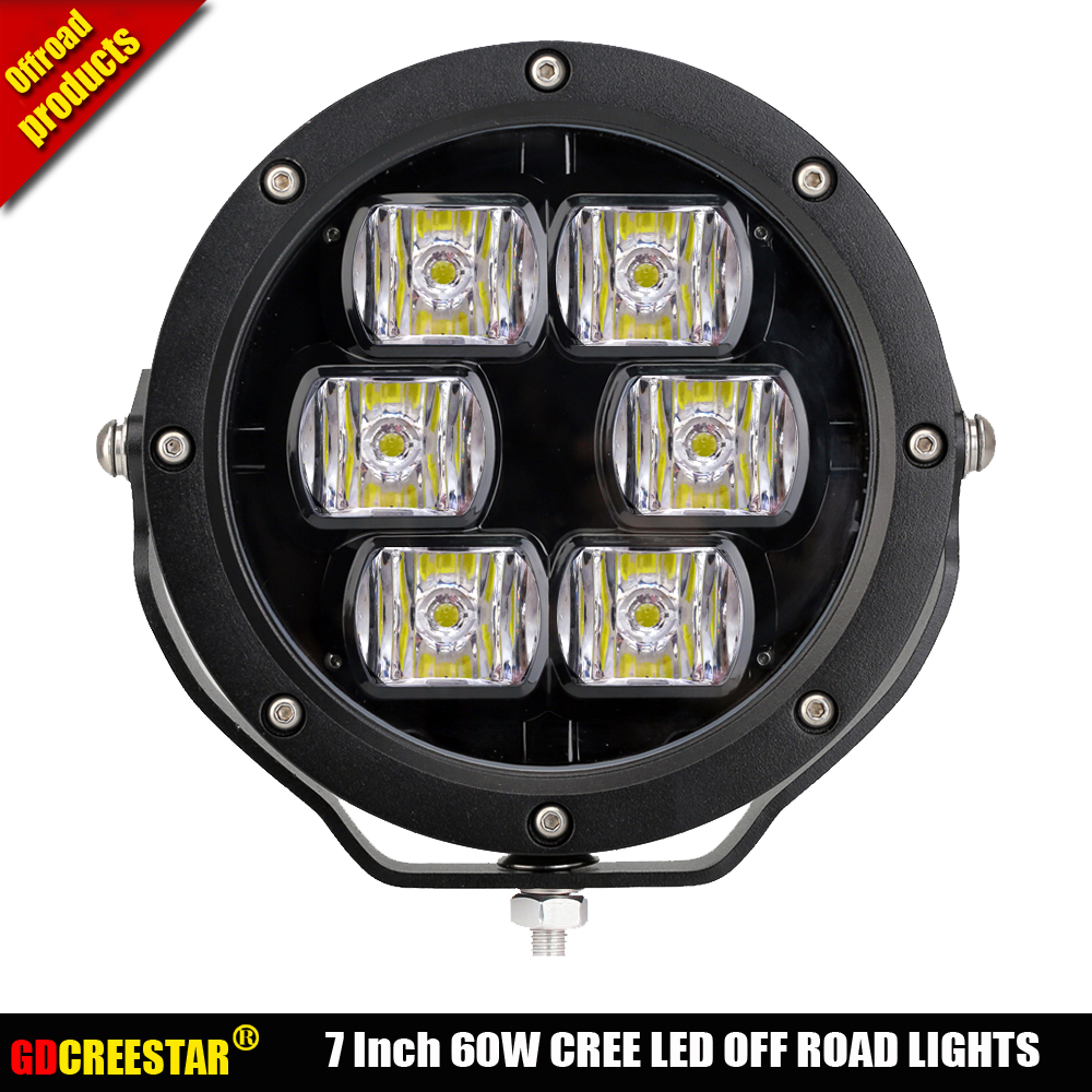 цена на LED offroad Lights 7 inch SpotLight 60W off road 4x4 Led Driving Work Light for SUV Truck Boat 12V 24V SUV ATV Wrangler x1pc