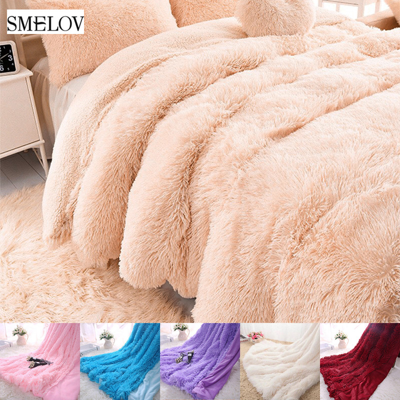 Pure Color Thicken Weighted Plush Blanket Spring Autumn Winter Wearable Adult Children Blankets King Size Fur Warm Throw Blanket