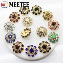 10pcs 22mm Bling Metal  Rhinestone Buttons Round Crystal Shank Button DIY sewing Clothing Accessories Jewelry Decoration