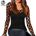 YEJIA FASHION Sexy Hollow Out Dot Lace Patchwork T-shirts Autumn Long Sleeve Hollow Out Slim O Neck Tops Tees  Poleras De Mujer