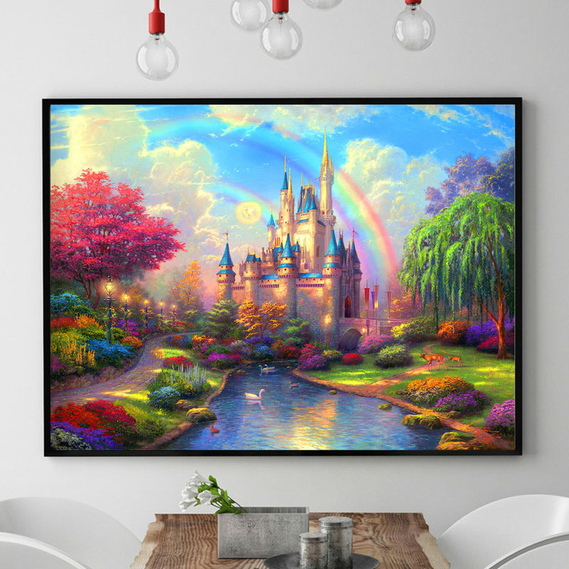 Needlework,DIY DMC Chinese Cross Stitch,Sets For Embroidery Kits,Precise Printed Rainbow Castle Patterns Counted Cross-Stitching