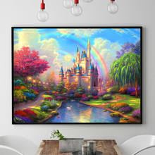 Needlework,DIY DMC Chinese Cross stitch,Sets For Embroidery kits,Precise Printed Rainbow Castle Patterns Counted Cross-Stitching(China)