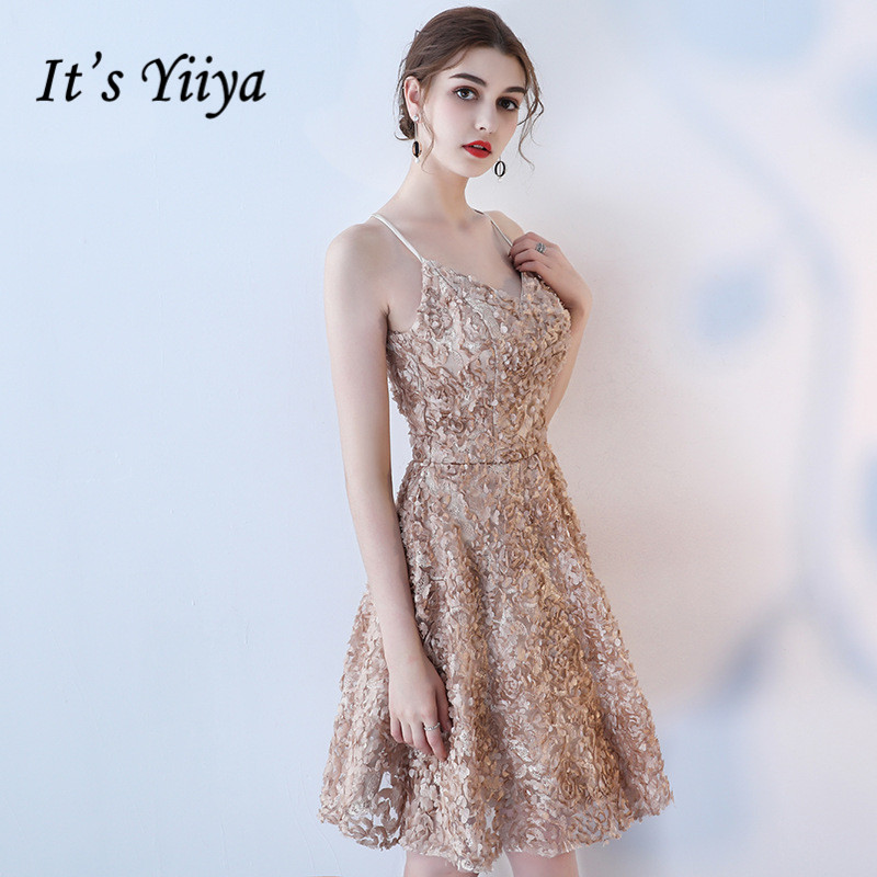 It's YiiYa Cocktail Dresses Sexy Spaghetti Strap Criss-cross Party Dress Elegant Flowers Knee Length A-line Prom Gowns E314