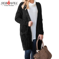 SEBOWEL Long Sleeve Velvet Cardigan Sweater for Women New Spring Autumn 2019 Female Ladies Casual Knitted Cardigans Sweaters Top