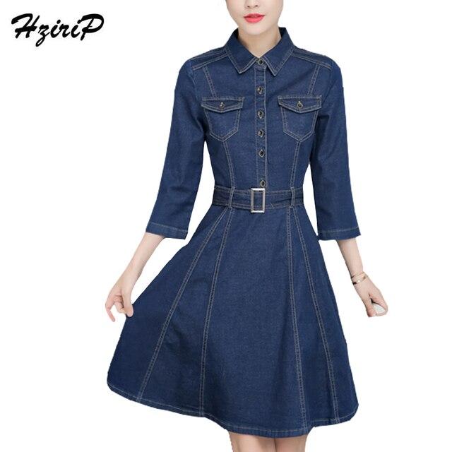 Hzirip элегантный Джинсы для женщин Платья для женщин Для женщин осень 2017 г. трапециевидной формы Высокая талия узкие модные Винтаж пояс платье из джинсовой ткани женские плюс Размеры