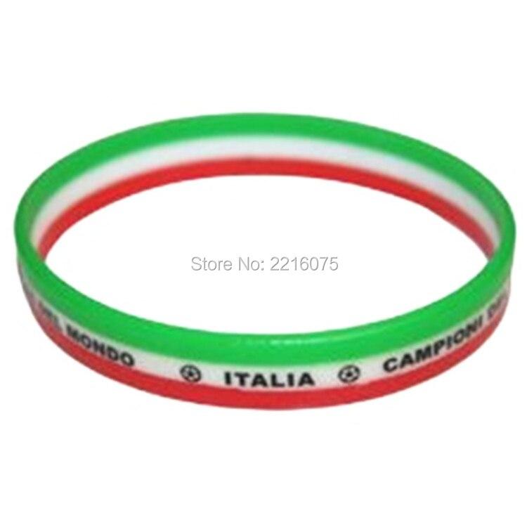 1000 Pz Verde Bianco Striscia Rossa Bandiera Coppa Del Mondo Italia Braccialetti Di Silicone Wristband Trasporto Libero Da Dhl Espresso Aspetto Elegante