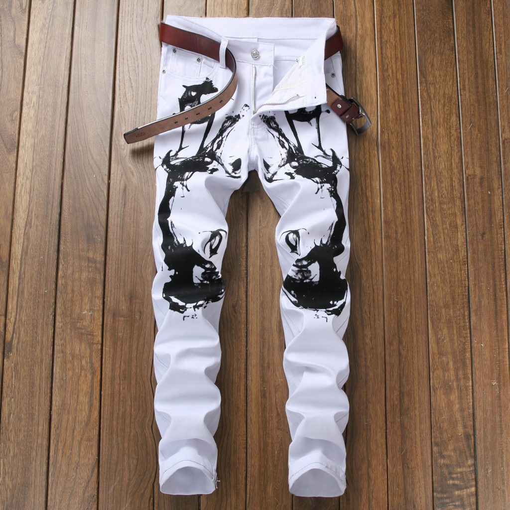 New 2018 printed trousers mens self-cultivation youth long pants fashion pants night clubs pants 5605