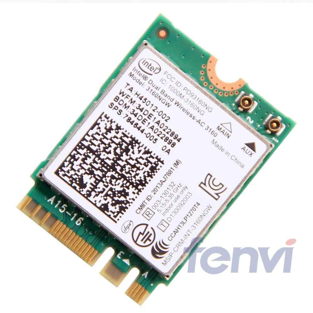 Intel Dual band Wireless-AC 3160 3160NGW NGFF M.2 Wifi Bluetooth 802.11ac 2,4G/5 Ghz portátil tarjeta inalámbrica combinada Wlan BT 4,0