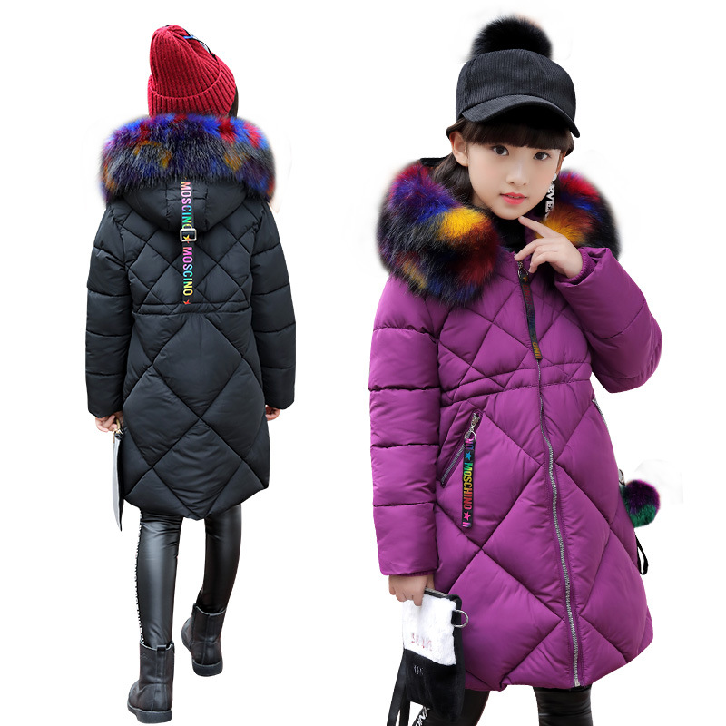 2019 Girls Winter Parkas Coats Fur Collar Clothes Kids Warm Cotton Padded Coats For Girls Snow
