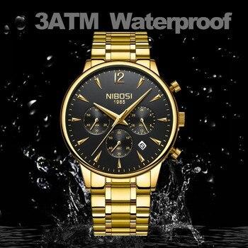 Men's Gold Stainless Steel Waterproof Quartz Watch  1