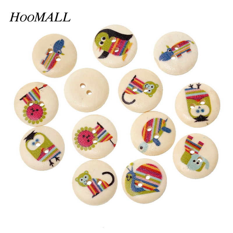 Hoomall Natural Animal Bird Cat Owl Pattern Round 2 Holes Wooden Sewing  Buttons Random Mixed 18mm 100PCs a1b22dcd962c