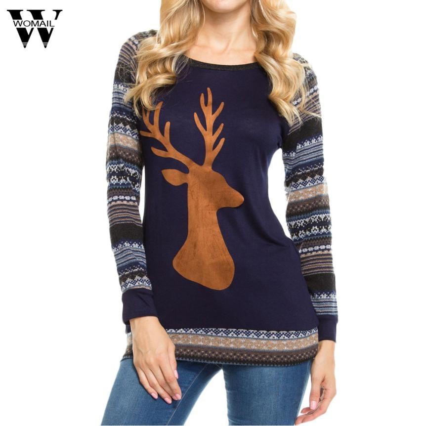 Womail 2018 Women Christmas top shirts Elk Long Sleeve Geometric Printed Splicing Shirt tops dec21