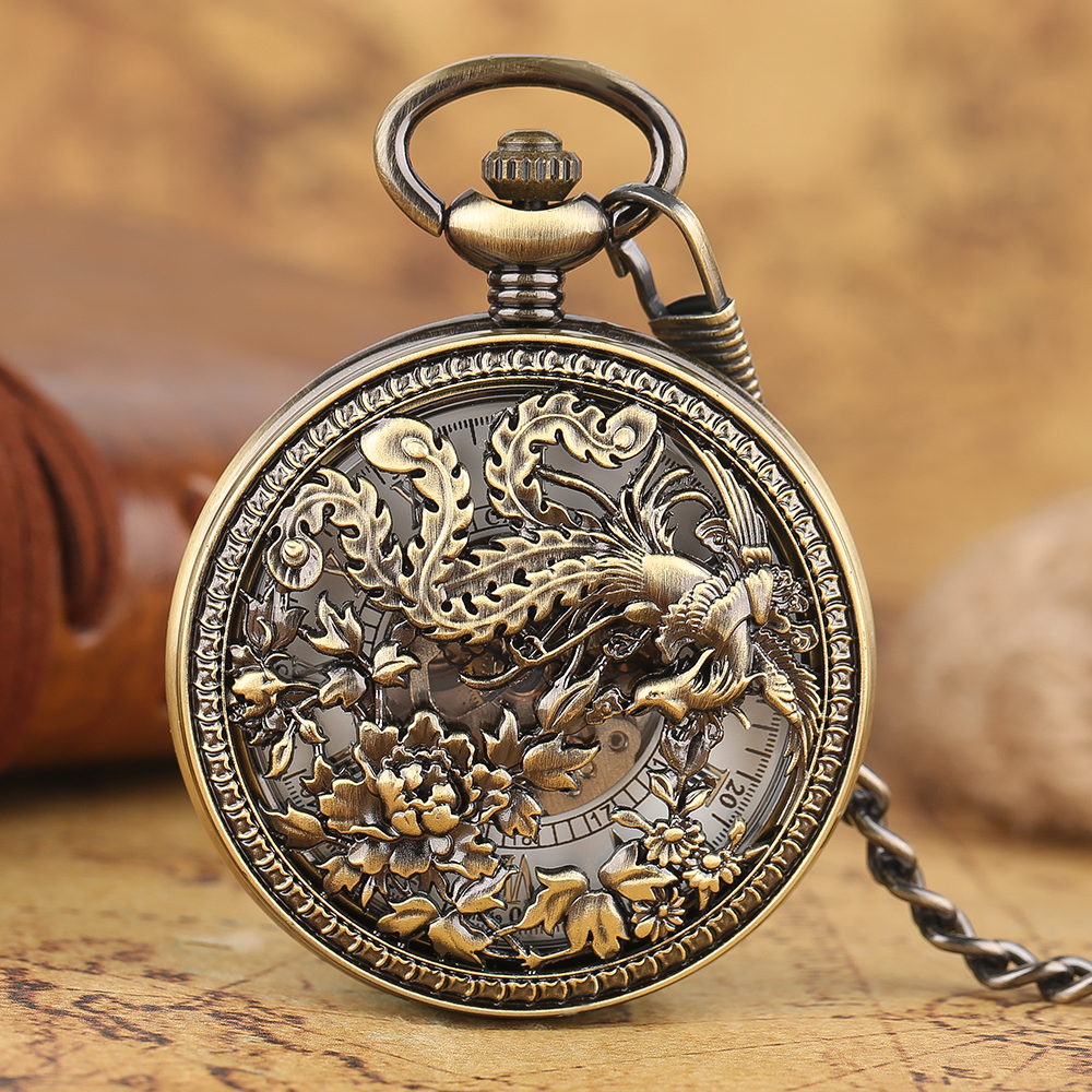 Bronze Carving Flying Phoenix Pendant Mechanical Pocket Watch Unisex Vintage Exquisite Automatic Flower Fob Chain Watches
