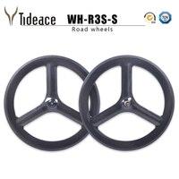 Tri Spoke carbon wheels Road bike Wheelset 700C Full carbon fiber cycling Clincher or tubular 3 spoke wheels