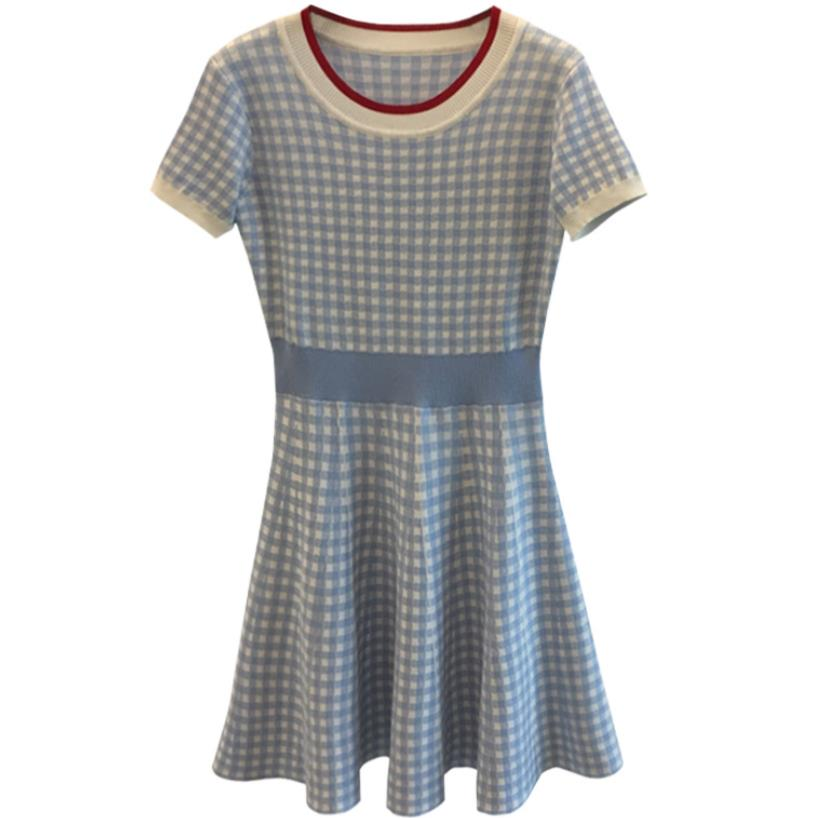 new plaid stretch Short Sleeve Knitted Dress Women Sweater Dresses craghoppers women s kiwi pro stretch short