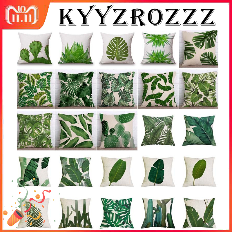 все цены на Tropical Plants Palm Leaf Green Leaves Monstera Cushion Covers Hibiscus Flower Cushion Cover Decorative Beige Linen Pillow Case