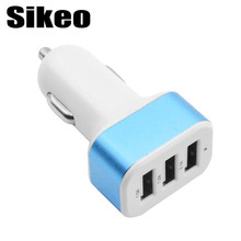 1PCS USB Car Charger Socket 2.1A 1A USB Charger 3 Port Phone Charger Adapter Car Styling Universal For Car-Styling Blue(China)