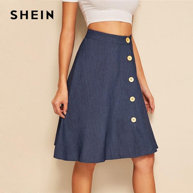SHEIN Button Up Circle Denim Skirt Women Summer A Line Flared Skirts 2019 Spring Autumn Navy Solid Mid Waist Midi Skirts