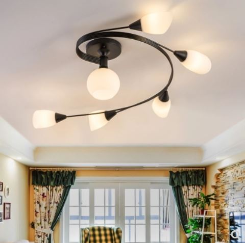 Ceiling lamp lighting design semi-circular highlight light pattern  American Living Room Bedroom Glass Ceiling Lights